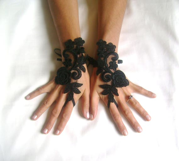 Rose goth gothic lace black Wedding gloves bridal gloves fingerless gloves Halloween costume french lace vampire