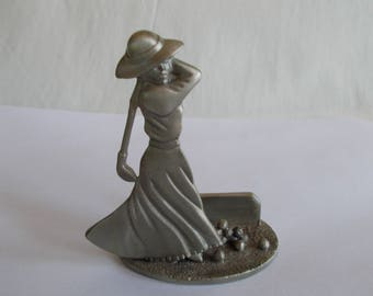 Vintage  Small Fort Pewter Lady Golfer //7