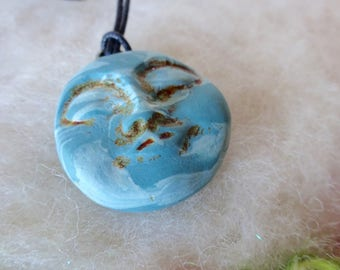 Clay Moon Necklace Pendant Zen Minimal Spiritual Jewelry Luna Spirit Moon Face Tranquil Peaceful Full Moon Polymer Clay Moon