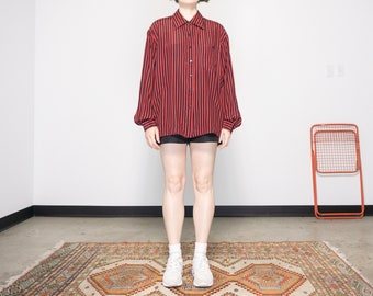 80s Silk Red + Black Striped Blouse / Women's XL
