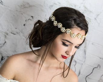 Gold Halo with Pearls for the Bride, Bridal front headpiece, Wedding Headband with Floral design