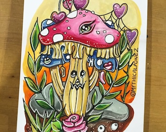 Know your shrooooooms A5 greeting card  toadstool dark art pop surrealism poison wonderland carton watercolour design bizarre weird strange