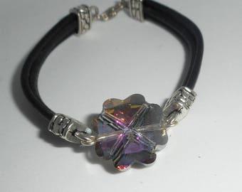 Black multi strand leather bracelet with clover Crystal