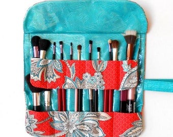 Two Row Makeup Brush Roll Up With 12 Pockets, Cosmetic Travel Carrier, Makeup Brush Pouch, Orange Turquoise Brush Holder, Bridesmaid Gift