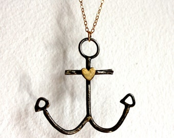 Anchors Away- Handmade Sterling Silver Anchor Necklace
