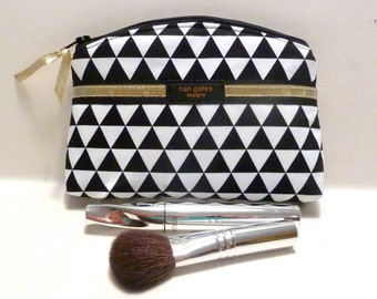 Bridesmaid Gift - Makeup Bag - Zippered Pouch - Contemporary - Black and White - Triangle - Flat Bottom - Round Top