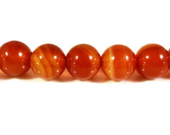 Carnelian Agate Gemstone Beads 6mm Round Striped Orange Stone Beads, Cornelian Agate Beads on a 7 1/2 Inch Strand with 31 Beads