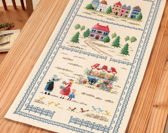 Cross Stitch kit Modern, Embroidered table runner, Japanese counted Cross Stitch Kit, Onoe Megumi,Hand Embroidery Kit, Embroidered DIY,EK377