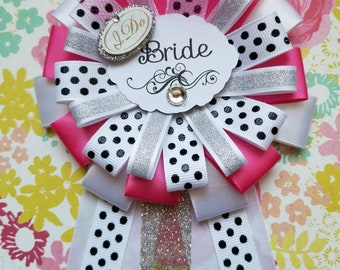Bride To Be Corsage, Bridal Shower, Bride To Be, Pink and Silver, Ready To Ship