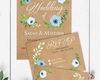Rustic Floral Wedding Invitation, RSVP & Thank You Card - DIY Printable