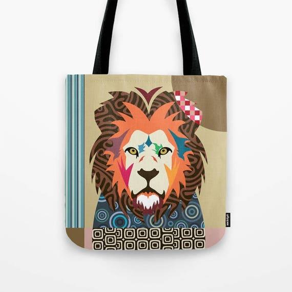 Lion Tote Bag, Lion Lovers Gift, Lion Print, Wild Animal Art, Animal Portrait, Wild Animal Gift, Wild Animal Gift Bag, Animal Pop Art