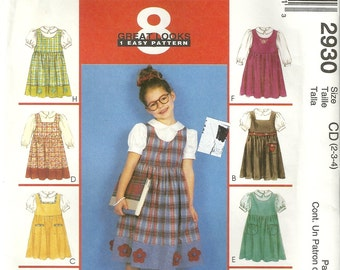 McCalls 2930 Girls 8 EASY Cute Dress Jumper & Puffy Sleeve Blouse Sewing Pattern Size 2 - 3 - 4