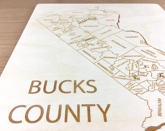 Bucks County Pennsylvania Map - Langhorne Penndel Doylestown Plumstead Newtown New Hope Bensalem Wrightstown Levittown Bristol Etched Atlas