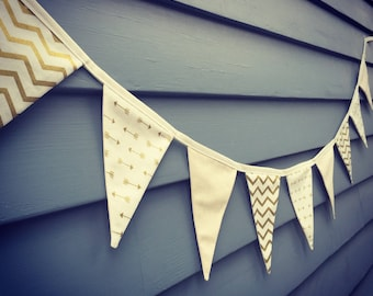 Wedding Bunting / Fabric Bunting / Gold and Cream / Party Decorations / Bunting / Flags / Birthday