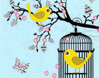 224 - caged bird napkin