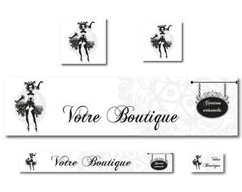 Banners for Burlesque, etsy banner shop banner design, vintage, black and white banner banner