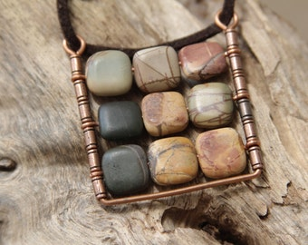 Square Pendant Abacus Pendant Boho plaid pendant Jasper Picasso gemstone pendant.