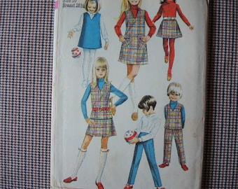 vintage 1960s Simplicity sewing pattern 7785 girls jumper or top skirt and pants girls size 10