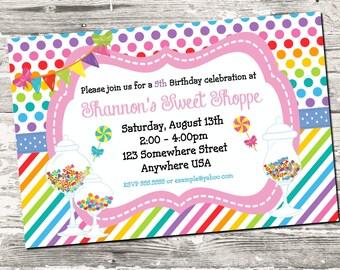 Sweet Shoppe Candy Birthday Party Invitation Digital Printable