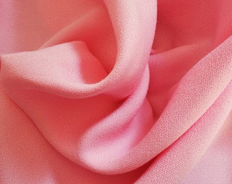 Vintage Textured Synthetic Crepe Dress Fabric - 1960's/early 1970's - Pink colourway - 1 piece - Unused