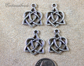 TierraCast Charms,  Celtic Open Heart Drop Charm, Celtic Silver Heart Charms, Antiqued Fine Silver Plated Lead Free Pewter, 4 Pieces, 8912