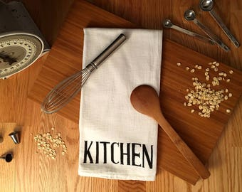 Hand Printed Farmhouse Flour Sack Tea Towel