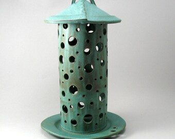 Rustic Round Lantern-Candle Holder-Lantern-Home Decor-Luminary-Circle-Porcelain Lantern-Pottery Lantern-Stoneware Lantern-Ready to Ship