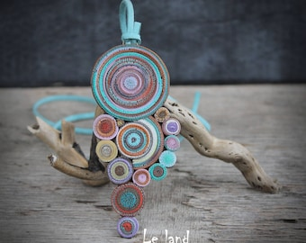 Statement Necklace one of a kind necklace Bohemian Pendant Necklace great Gift for her gypsy Necklace hippie jewelry polymer clay necklace