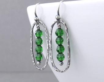 Small Green Earrings Dainty Crystal Earrings Green Beaded Earrings Silver Drop Earrings Gift for Her Crystal Jewelry - Simple Lines