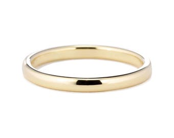 14K Gold Ring, 2mm 14K Gold Wedding Band, 14K Gold Wedding Ring, Comfort Fit Wedding Ring