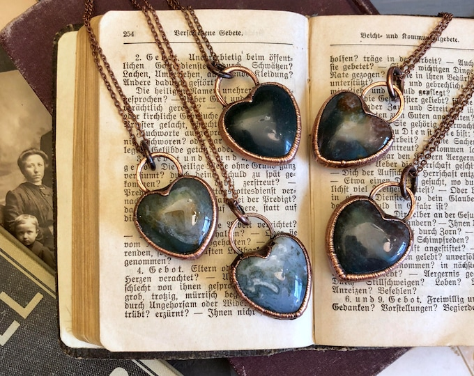 Moss Agate Necklace Crystal Heart Necklace