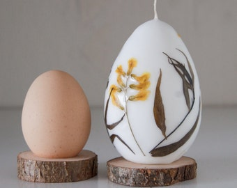 Easter Egg - Easter Candle With Real Flowers - Easter Table Decor - Easter Gift - Natural Dried Flowers Decor For Easter, Easter Centerpiece