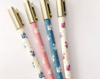 Floral Gel Pen with Gold Lid