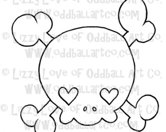 Digi Stamp Digital Instant Download Girly Skull w/ Heart Eyes Image No. 39 by Lizzy Love