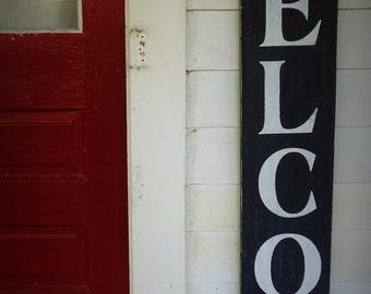 Huge Large Vertical Wooden Welcome Sign Front Door Sign Decoration