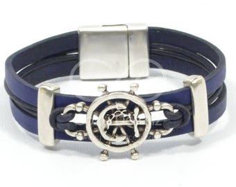 men anchor bracelet, men nautical jewelry, blue nautical bracelet, ship wheel bracelet, sailing bracelet, sailor gift, beach jewelry