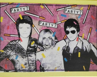 Ltd Edition 'Party People' A6 Greetings Card Feat. David Bowie, Iggy Pop and Lou Reed.  Designed and signed by the artist [EK!]