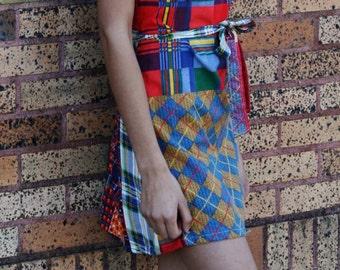 Playful Sexy Wrap- Around Dress Patchwork Mini