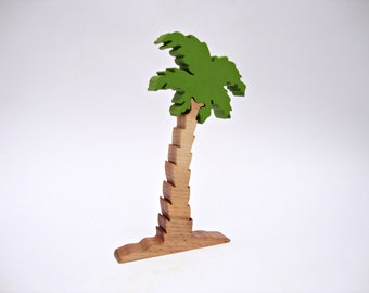 Wooden Tree Toy Palm Waldorf Tree Toy Tree Figurine Learning toys Puzzle Handmade Eco Friendly Birthday gift Toys for Kids Toys Gift