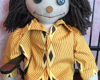 Raggedy doll. Raggedy Andy. Primitive dolls. Big raggedy doll.