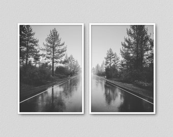 Rustic Nature Print Set of 2 Printable, Symmetry Forest, Road, Landscape Print Black and White, Trees Poster, Forest Photography (W0787)