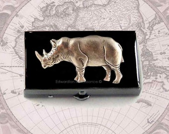 Silver Rhino Pill Box Inlaid in Hand Painted Black Glossy Enamel Neo Victorian Safari with Personalized and Color Options