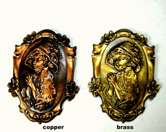 Metal Gothic Lady Cameo Pin, Pick ONE, Brasstone or Coppertone, Unused 1990s