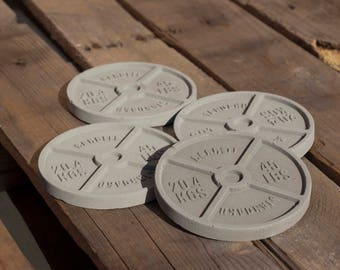 Concrete Barbell Workout Coaster 4 Pack / Workout Coaster / Barbell Coaster / Weight Coaster