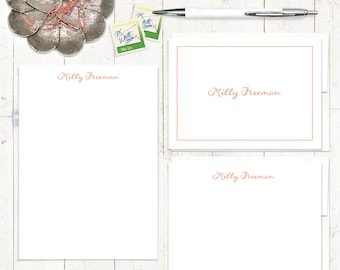 complete personalized stationery set - PERFECTLY SWEET - stationary set - feminine notecards - notepad - simple stationery