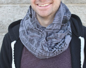 Grey Newsprint Infinity Scarf, Mans Scarf, Screen printed, Made in Canada