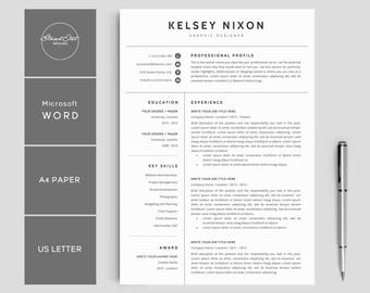 "Resume Template | Creative Resume | CV Resume + Cover Letter | 3 Page Pack | Resume Template for Word | Instant Download Resume | ""KELSEY"""