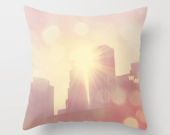 decorative throw pillow cover, 18x18 pink pillow cover, teenage girls room bedding, Los Angeles home decor, LA skyline, baby room