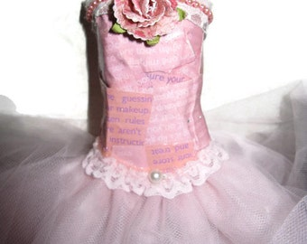 Art  Mixed Media Assemblage Dress Pink Fairy Gown