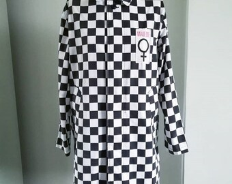 Mademe NYC Checkered Trench Coat Jacket
